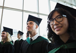 College Students at Graduation ceremony